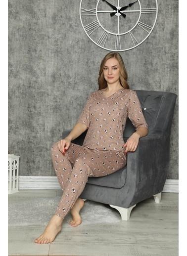 Akbeniz Pijama Takım Kahve